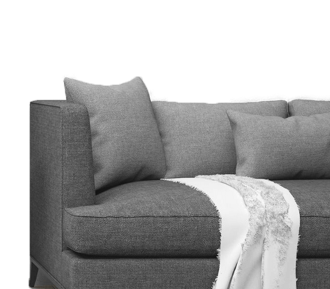 Image of Grey Couch with White Blanket